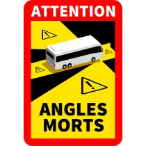Znak ostrzegawczy - ATTENTION ANGLES MORTS martwe pole autobus folia 17x25